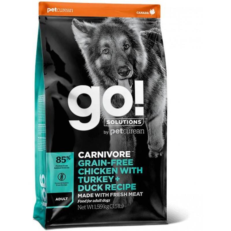 GO! Solutions Carnivore Grain Free Chicken, Turkey + Duck Adult Recipe 10kg